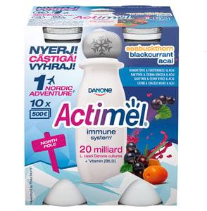 Danone Actimel zsírszegény, élőflórás, homoktövis-feketeribizli-acai bogyóízű joghurtital
