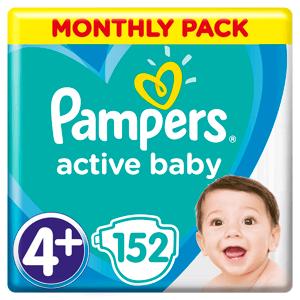 """Pampers Active Baby nadrágpelenka - 3 nedvességfelszívó csatornával 10-15 kg (""""4+""""-os méret)"""