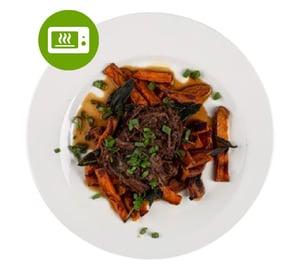 MEATOLOGY GO FOR 2 / BBQ pulled beef, zsályás édeskrumpli (700g)