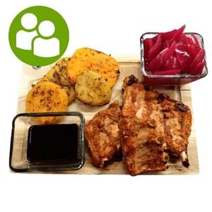 MEATOLOGY GRILL / sertésoldalas, fűszeres grill krumplik, marinált lilahagyma, Jack szósz (760g)